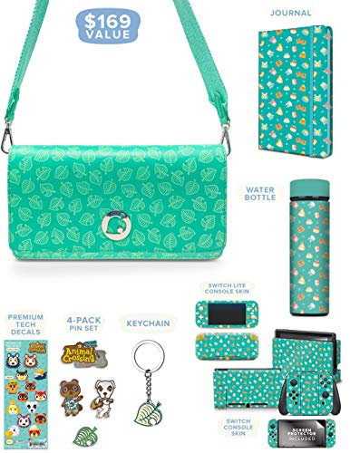 Controller Gear Official Nintendo Animal Crossing: New Horizons Merch Collectors Gift Set - Sling Bag, Switch + Switch Lite Skins, Bottle, Journal, Pins - Nintendo Switch
