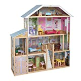 JOYMOR 48' Large Dollhouse with Furniture, Wooden Play Mansion with Elevator, DIY Dollhouse Kit Dream Doll House for Little Girls Kids