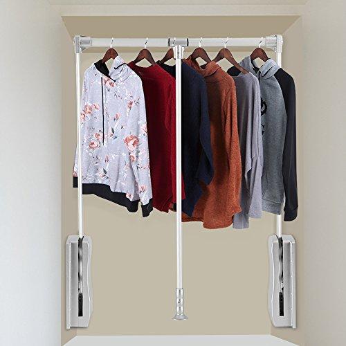 lyrlody Kleiderlift Verstellbarer Garderobenlift Kleiderfächer schwenkbare Kleiderstange Pull Down für Schrankbreit, Größe 3 wahlweise freigestellt, Belastbarkeit 10KG(830-1150mm)