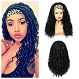 Lady Hanne Dreadlock Wig Black HeadBand Wig Long Afro Curly Wigs Braided Twist Dreadlock Wigs Heat Resistant Synthetic Daily Party Replacement Wig for Women