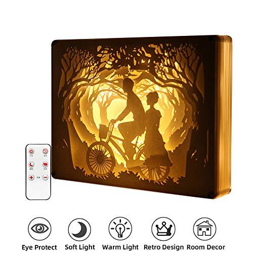 FDYD LED Paper Cut Ombre Light Box, Art Décoration 3D Papier Sculpture LED Lampe Cadeau pour la Maison Chambre de Chevet,Smileslightly