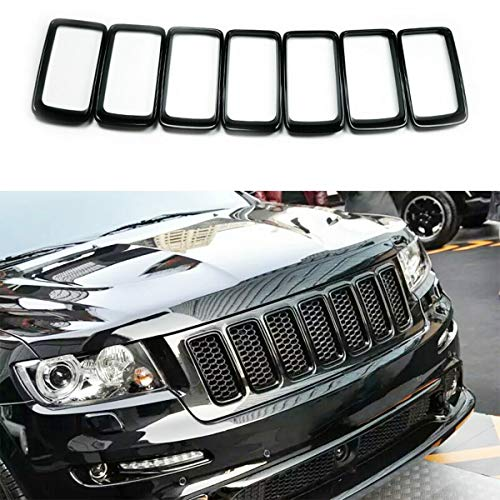 Meyffon Front Grille Inserts Mesh Honeycomb for 2014-2016 Jeep Grand Cherokee 7PC Black Grill Ring (Grill Ring Inserts)