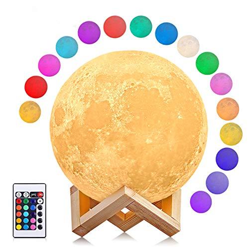 Lámpara Luna grande con tonos amarillos.