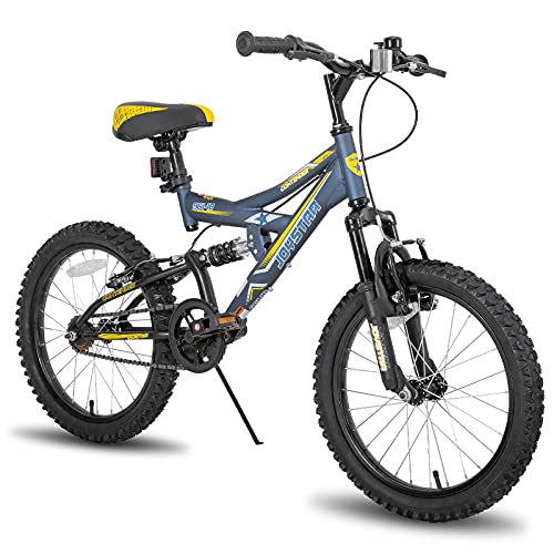 JOYSTAR Contender 18 Inch Full Dual-Suspension Mountain Bike for Kids Featuring 15-Inch/Small Steel Frame and 1-Speed Drivetrain with 18-Inch Wheels Kickstand Included Blue