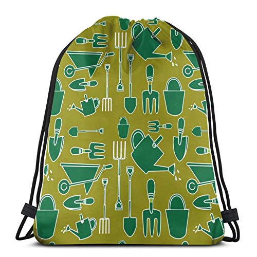 KIENGG Drawstring Backpack Green Garden Tools Art Canvas Bulk Sackpack for Men Women String Sports Gym Bag