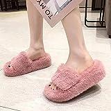 ZSW Invierno Caliente casa Mujer Zapatillas de Piel Rosa Moda Piel sintética señoras Color sólido Felpa cálido Fondo Grueso Mujer Zapatillas peludas-Pasta de judías_38