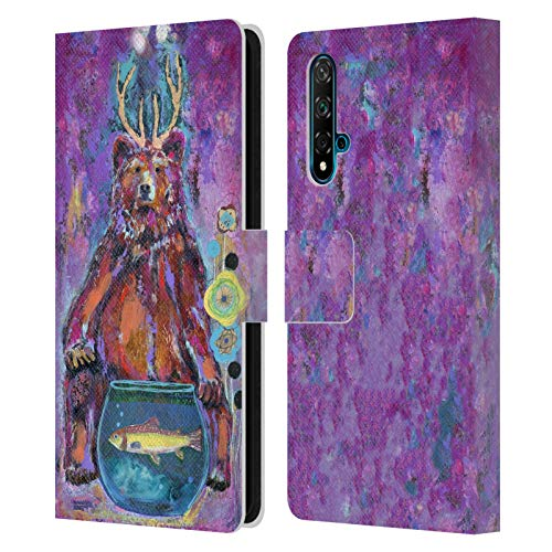 Head Case Designs Licenciado Oficialmente Wyanne Bear with Antlers Animales Carcasa de Cuero Tipo Libro Compatible con Huawei Nova 5T
