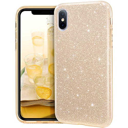 MATEPROX iPhone Xs Max Case Glitter Slim Shiny Sparkle Crystal Bling Cover Cute Girls Case for iPhone Xs Max 6.5'' (Gold)