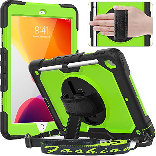 Timecity New iPad 10.2 Case 2020/2019 (iPad 8th/ 7th Generation Case) with Screen Protector Pencil Holder Rotating Kickstand Hand/Shoulder Strap.Rugged Protective Cover for iPad 10.2 inch-Black+Green