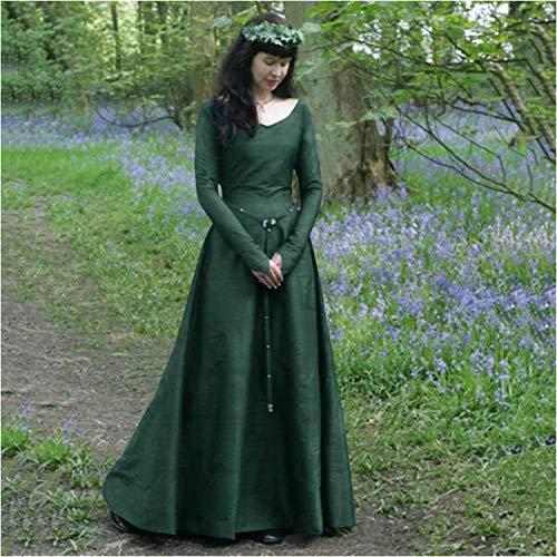 Fnho Vestido Vintage Mujer Medievales,Renacentista Disfraz Medieval para Mujer Vestido,Vestido Medieval clsico, Vestido de Cuello Redondo de Manga Larga-Green_M