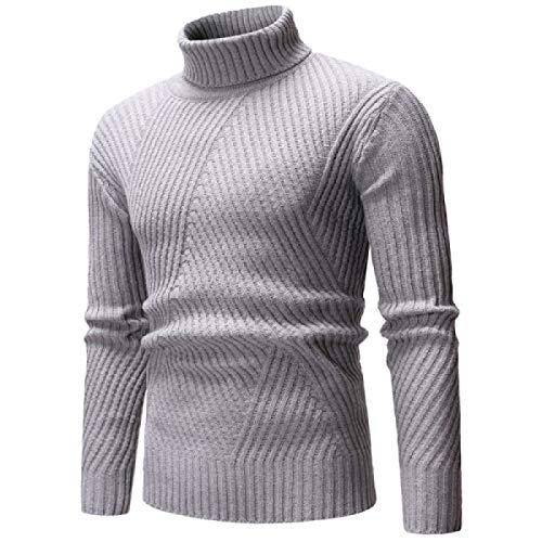 Suéter de Cuello Alto a Rayas de Color sólido para Hombre Moda Slim Fit Ropa de Calle de Manga Larga Todo-fósforo Casual Jersey Regular XL