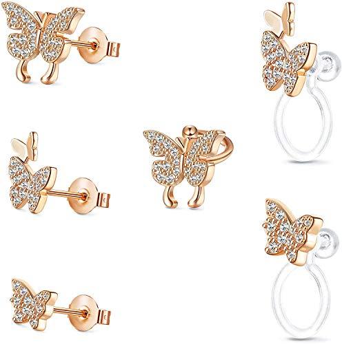 Milacolato 6PCS CZ Butterfly Cartilage Stud Earrings for Women 14K Gold Plated Butterfly Huggie Hoop Ear Cuff Wrap Clip Earrings Lightweight No Piercing