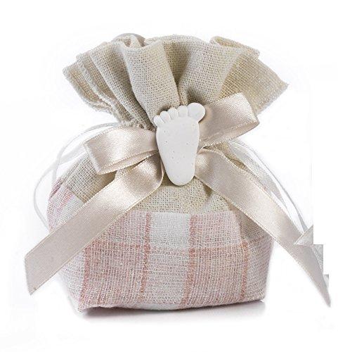 Mandorle by Paben 36 pz Sacchetti portaconfetti Bomboniera Nascita Battesimo Bambina con Applicazione Piedino Gesso