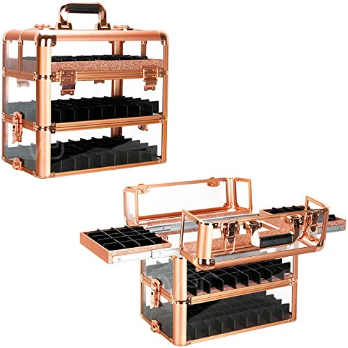 Ver Beauty Professional Nail Polish & Cosmetic Organizer, 3.8mm Heavy Duty Acrylic Makeup Artist Travel Case, Rose Gold