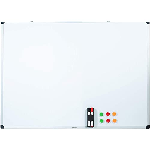 AmazonBasics Tableau blanc magnétique avec cadre en aluminium et porte-marqueurs Effaçable à sec, 120 cm x 90 cm