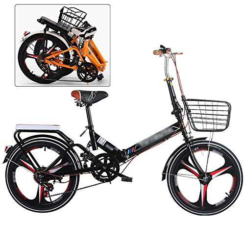Nobuddy Bicicleta Plegable, 20 Pulgadas Bicicleta Juvenil, 7 Velocidades Bicicleta Infantil, Bici para Niños y Niñas, Montar al Aire Libre/Negro