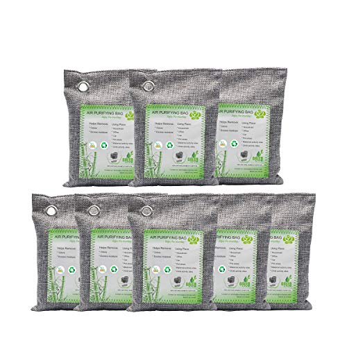 Activated Bamboo Charcoal Bags, Natural Air Purifying Fresheners,Moisture Remove for Home, Car, Closet, Bathroom (8 x 200g)