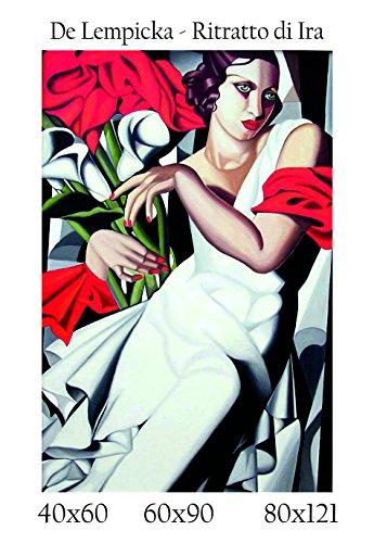 Social Crazy Stampa in Telo Canvas 100% qualità Italia - De Lempicka - Ritratto di Ira Effetto Dipinto Idea Regalo Casa Quadro Cucina Stanza da Letto Soggiorno (40x60)