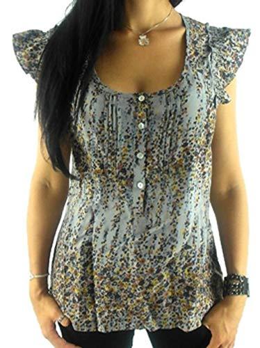 Kaffe blouse shirt zomerblouse grijs plooien ruches V-hals viscose