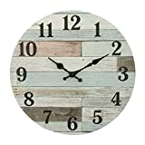 Stonebriar Vintage Coastal Worn Blue 14 Inch Round Battery Operated Wall Clock