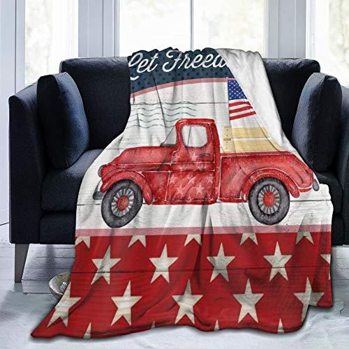 SURERUIM Manta De Tiro De Lana Suave,Let Freedom Ring Patriotic Stars and Stripe Flag Independence Rústico Camión Rojo con Bandera Estadounidense en Madera Retro,Home Hotel Sofá Cama Sofá Mantas para