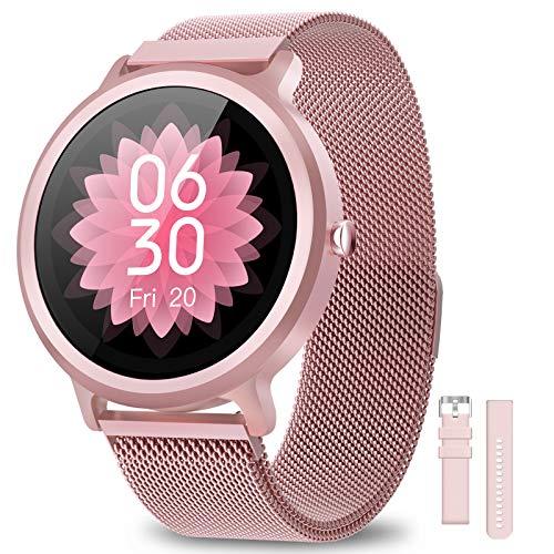 BANLVS Smartwatch Donna IP68, Orologio Fitness 24 Modalità Sportive Sonno Cardiofrequenzimetro Notifiche Messaggi, Smartwatch Activity Tracker Per Android iOS