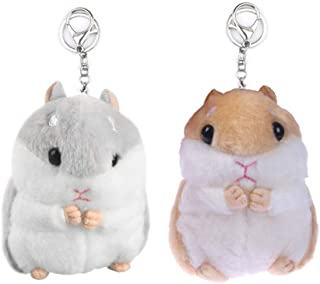 UTENEW 2 Pack Plush Hamster Keychains Stuffed Animal Keyring Pendant Purse Backpack Handbag Charms