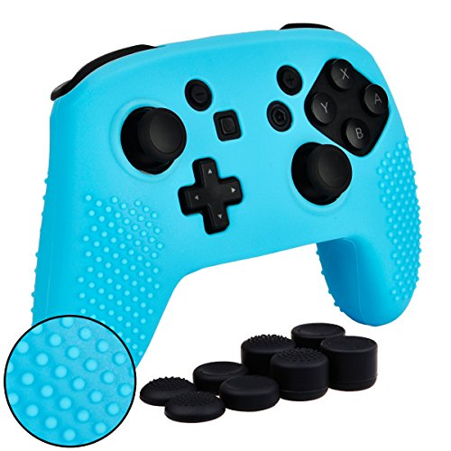 MXRC Silicone Rubber Studded Cover Skin case Anti-Slip Customize for Nintendo Switch PRO Controller x 1(Blue) + Thumb Grips x 8