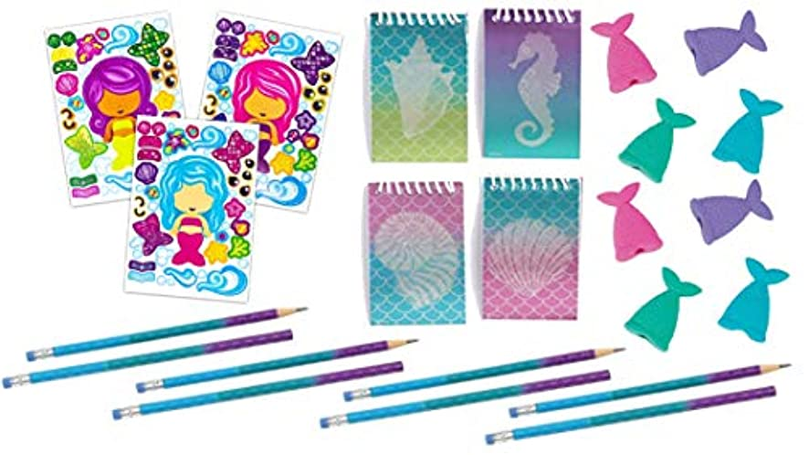 Mermaid Party Favor Set- 48 Piece- DIY Stickers, Pencils, Erasers, and Notebooks