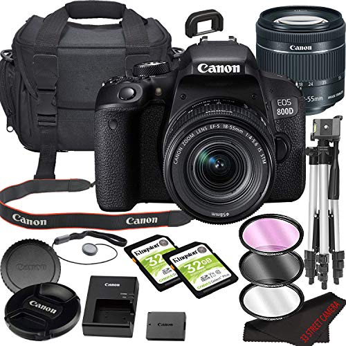 Canon EOS 800D (Rebel T7i) DSLR Camera Bundle with 18-55mm STM Lens | Built-in Wi-Fi|24.2 MP CMOS Sensor | |DIGIC 7 Image Processor and Full HD Videos + 64GB Memory(17pcs)