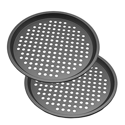 Molde para pizza con agujeros, juego de 2 moldes de acero al carbono perforados de 12 pulgadas, antiadherente, redondo, para pizza de HYTK (2)