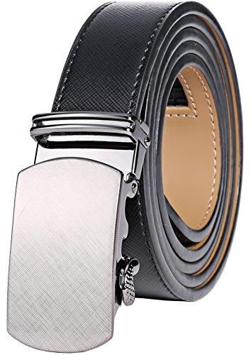"Marino Ratchet Leather Dress Belt For Men - Adjustable Click Belt with Automatic Sliding Buckle - Wreathed - Jet Black - Adjustable from 28"" to 44"" Waist"