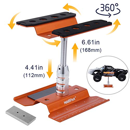 Hobbypark Aluminum RC Car Stand Work Station Repair Tools for 1/12 1/10 1/8 Crawler Truck Buggy Traxxas Redcat Axial RC4WD Tamiya HPI (Orange)