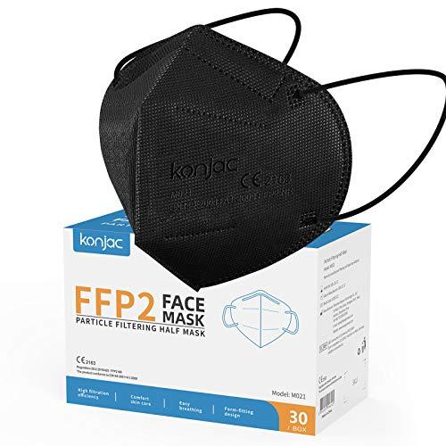 konjac FFP2 Maske 30 Stück Masken Mundschutz FFP2, 5-lagig Einwegmasken Atemschutzmaske Gesichtsmaske Einzeln Verpackt FFP2 Masken Einweg Schutzmaske für Erwachsene Staubschutzmasken-schwarz