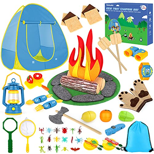 Kids Camping Play Tent Toys for 3 4 5 6 7 Year Old Boys Girls Pretend Play with Campfire / Fruits/ BBQ/ Exploration Bug Catching Kit Full Camping Gear Set for Toddler Indoor Outdoor Pretend-Play Game