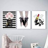 Pintalabios Impresión artística Perfume moderno escandinavo Tacones altos Pintura sobre lienzo Decoración de habitación de niña nórdica 3 piezas Imágenes de pared Decoración de carteles Sin marco