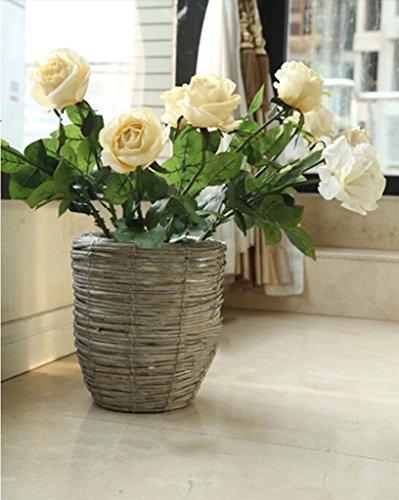 FZN Pot rotin Fleur Panier tissé Fleur Pot Vase paniers de Fleurs Baril rétro Fleur de siège créatif (Couleur : Gris, Style : C)