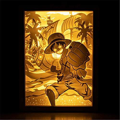 Leeslamp bedlampje tafellamp tafellamp tafellamp tafellamp cartoon één stuk 3D stereoscopisch licht en schaduw papier carving lamp acryl action figuur afstandsbediening wandlamp X2740