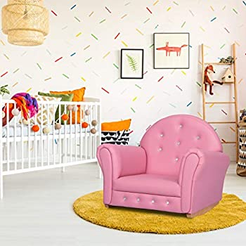 Kinbor Baby Kids Sofa High-Back Kids Armrests Children Armrest Rocking Chair with Wooden Construction and Legs with Embedded Crystal Perfect for Girls Age 2-8 Years Pink