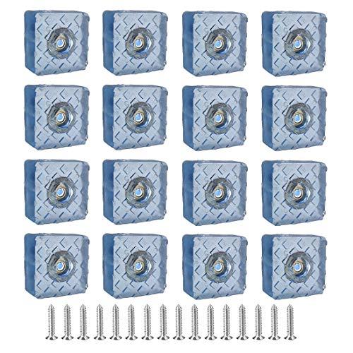 SIYI-XIU 16Pcs Protector Patas Sillas Cuadradas Almohadilla de Gomay con Tornillo-Set de Patas Para Sillas,Mesas,Suelo,Dia 30mm,Azul Claro Transparente