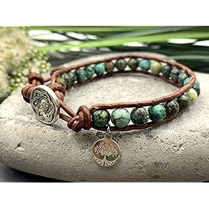 Armband Afrikanischer Türkis, Bohoarmband Türkis, Lebensbaum, Geschenk für mich