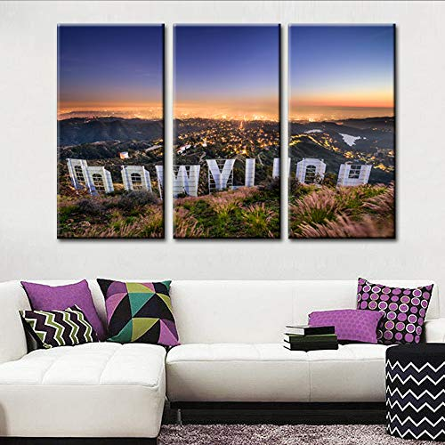 Vintage Wall Art Painting Hollywood Sign in Mountain Overlooking Los Angeles Prints On Canvas California USA Pictures Cityscape Poster Art Work Printing for Home Modern Decoration 40''x20''x3 Pcs
