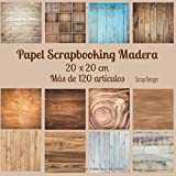 Papel scrapbooking madera 20 x 20 cm mas de 120 articulos