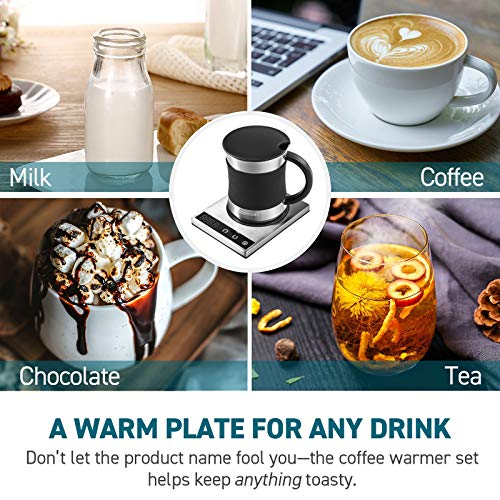 Cosori Coffee Mug Warmer & Mug Set Premium 24Watt Stainless Steel, Best Gift Idea, Office/Home Use Electric Cup BeveragePlate,Water,Cocoa,Milk