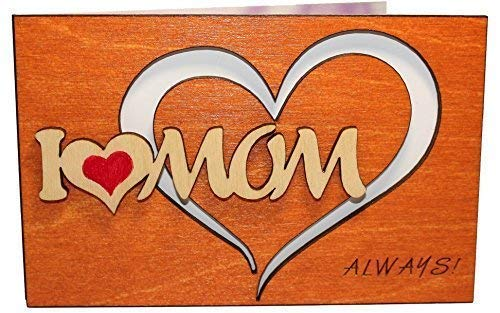Real Wood I Love Mom Heart Happy Birthday Valentines Day Valentine Thank You Get Well Wooden Gift Godmother God Mother Mommy to Be Stepmother Step Mama from Husband Baby Son Daughter Kid e