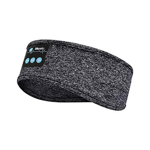 WZPG Diadema Deportiva, Diadema de Funcionamiento de Bluetooth, Diadema de música Deportiva, Bluetooth V5.0 / Voz Inteligente/Llamada/estéreo, Sombreado Sueño Turbante