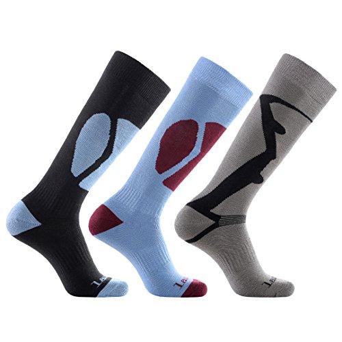 Laulax, 3 paia di calze termiche lunghe da sci, da uomo,cashmere-like, taglia 41–46, colore: nero, blu, grigio