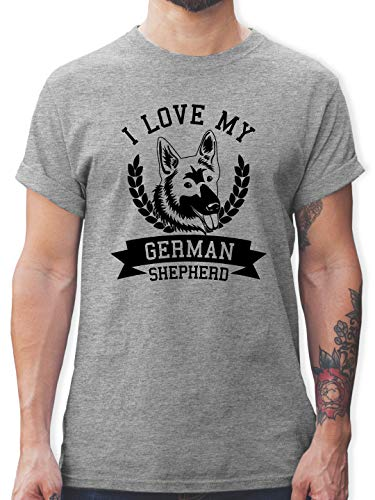 Hunde - I Love My German Shepherd - S - Grau meliert - German Army Shirt - L190 - Tshirt Herren und Männer T-Shirts