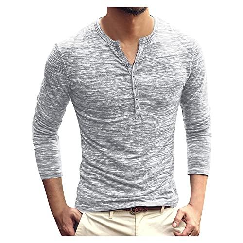 Dasongff Camiseta de manga larga para hombre con botones y cuello en V, para otoño e invierno, corte ajustado, de Henley, sudadera de negocios, de un solo color, cómoda, transpirable