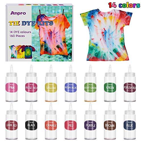 Anpro 160 unidades Tie Dye Kit, 14 colorantes × 100 ml/botella textiles brillantes Tie-Dye, kit de materiales para teñir la ropa, apto para manualidades para niños y adultos